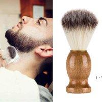 Cepillo de afeitado para hombre Barba facial Limpieza de barba para el hogar Mango de madera natural Cepillos Cepillos Faciales Cuidado Herramientas de belleza OWA5210
