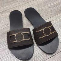 Lujos de alta calidad Diseñador para hombres zapatillas para hombres Sandalias Zapatos Slide Summer Fashion Wide Wide Flip Flops # 5