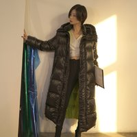 2021 Winter Women Down Jacket Hoodie Full Length Fashion New Designer Casual Elegant Down shark Slim Coats 90%White Goose Down outwear Coats