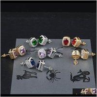Consegna a goccia 2021 Designer di lusso orecchini mens hip hop gioielli ghiacciati con diamanti con scollo a diamante orecchino pandora stile orecchini moda orecchini d'oro con donne