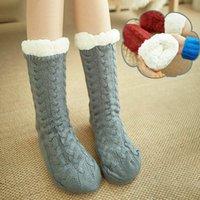 1 3 Pairs Thick Warm Sleep Socks Slippers Women Girls Autumn Winter Velvet Home Floor Socks Non Slip Mid Tube Cute
