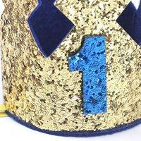 1 2 3 yaşında doğum günü şapkası bebek duş dekoratif kafa çocuk parti taç şapka mavi altın doğum günü taç parti şapkalar