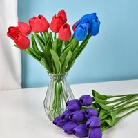 بو ميني توليب الاصطناعي الزفاف الديكور الحرير زهرة المنزل اصطناعي النباتات تأثيث المواد