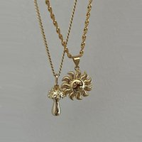 Ins Vintage Mushroom Smile Sun Necklace Simple Cute Necklaces For Women Girls Fashion Jewelry Gift Chains