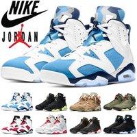 Nike Air Jordan 6 Chaussures de basket Basket Femmes 6S Unc Unc Électrique Vert Britannique Kaki Moyenne Olive Carmina Hare Triple Black Infrarouge Hommes Sports Sports Sports Taille 36-47