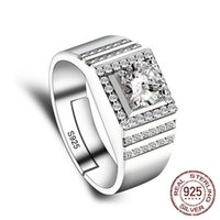 Adjustable Rings Wholesale 925 Sterling Silver Wedding Fine Jewelry Zircon Engagement Ring for Men