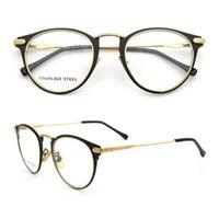 Mulheres vintage redondas quadros de vidro para homens moda de metal de aço inoxidável óculos de ouro óculos de ouro preto prescrição preto