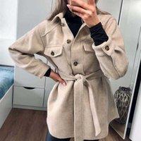 Puwd Vintage Woman Loose Sashes Woolen Coats Chic Female Autumn Soft Turndown Collar Outwear Ladies Elegant Pockets Jackets