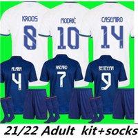 MBAppé Yetişkin Seti Gerçek Madrid Formalar 21 22 Futbol Futbol Gömlek Alaba Tehlike Benzema Modric Kroos Vini Jr Casemiro Camiseta Erkekler Çorap Tam Setleri 2021 2022