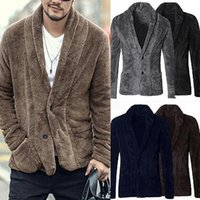 Men's Fashion Business Jacket Gentleman Winter Wool Blends Coat Casual Long Sleeve V Neck Warm Outwear Fleece Cardigan Clothes Jackets