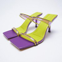 Sandals Womans Slippers Luxury Slides Heeled Mules 2021 Designer High Beige Thin Soft Slip-On Rubber PU Fashion
