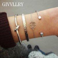 Pcs set Geometric Knot Cuff Bangles For Women Elegant Silver Square Bead Bangle Tree Of Life Charm Bracelets Set