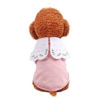 애완 동물 강아지 개와 고양이 가을 고양이 의류 두 다리의 옷 테디 Bichon 연꽃 칼라 자수 티셔츠 핑크 개 의류