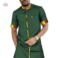 Style 2021 African Shirt For Men Dashiki Short Sleeve Clothes Patchwork Casual Long BRW WYN1320 Ethnic Clothing
