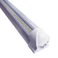 4ft 8ft v 모양 통합 LED 튜브 라이트 4 행 144W 8 피트 피트 쿨러 도어 냉장고 조명 SMD2835 공장 창고 차고 램프 미국 주식