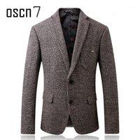 oscn7 الشتاء سمكا الصوف tweed جاكيتات الرجال الصلبة رمادي يتأهل السترة الرجال المضادة ارتداء كم بقع تصميم رجل blazer1