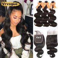 Human Hair Bulks Brazilian Body Wave Bundles With Closure Remy 3 Lace 4x4 Free Part