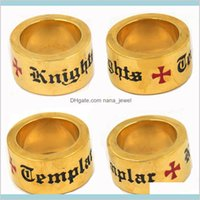 Band Rings Fanssteel Stainless Steel Mens Wemens Jewelry Masonary Gold Plating Knights Templar Cross Masonic Ring Gift For Brothers Si