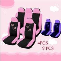 Coberturas de assento de carro Chunmu 4/9 pcs / set rosa borboleta bordada de carro-styling mulher de automóveis acessórios interiores