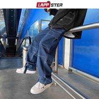 LAPPSTER Men Patchwork Harajuku Y2k Baggy Jeans Japanese Streetwear Hip Hop Wide Leg Denim Trousers Plus Size Harem Pants
