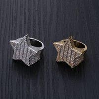 Iced Out Star Anelli per Uomo Designer di Prestigio Mens Diamond Stars Anello Rame Zircone 18K Placcato oro Placcato GIOIANI Monili di fidanzamento 100 T2