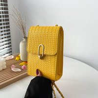 Evening Bags 2021 Summer Trend Woven Mobile Phone Bag Solid Color Western Female Simple One-shoulder Messenger Chain