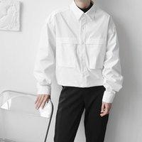 Men's Casual Shirts Hem Drawstring Black White Shirt Men Streetwear Fashion Loose Coat Tops Man Harajuku Trend Jacket