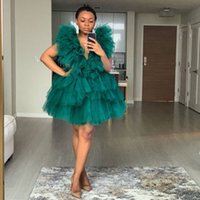 Dark Green Deep V Neck Tiered Tulle Party Dresses Puffy Chic Photo Shoot Gowns Formal Dresses African Women Formal Prom Dress Cheap
