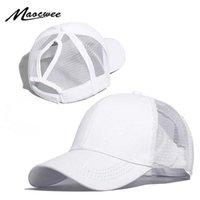 Maocwee At Kuyruğu Beyzbol Şapkası Kadın Örgü Beyzbol Şapkaları Yaz Plaj Kap Düz Renk Snapback Kız Güneş Şapkaları Delik 2019 Q0703