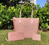 브랜드 디자이너 가방 여성 전체 큰 반짝이 크로스 바디 + 지갑 + 카드 홀더 세트 반짝이 가족 큰 어깨 가방 지갑 핸드백