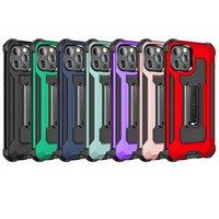 2in1 plastique dur en plastique doux TPU Kickstand étui pour iPhone 12 mini 11 pro xr xs max x 8 7 6 6S plus Situs en métal Magnet Hybride Double couche de défenseur Housse de téléphone antichoc