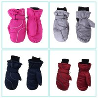 Ski Gloves Toddler Kids Winter Snow Waterproof Windproof Solid Color Patchwork Thicken Warm Adjustable Stretchy Mittens 5-9T