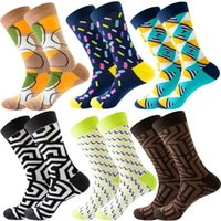 Men's Socks 3D Funny Stockings Colourful Casual Women And Men Cute Novetly Cotton Stripe Grid Geometric Pattern Sox