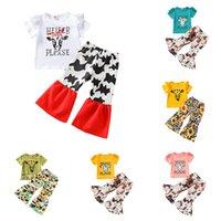 Детская одежда наборы для одежды для девочек наряды Детские скотины подсолнечника принт рюшами рукава топы + корова цветочные брюки 2 шт. / комплект Летняя мода бутик детская одежда Z3289