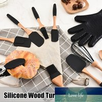 Silicone Wood Turner Soup Spoon Spatula Brush Scraper Pasta Gloves Egg Beater Kitchen Cooking Utensil Tools Kitchenware