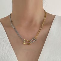 Chains GSOLD Geometric Metal Pendant Necklace Simple Double-Layer Gold Silver Color Clavicle Chain Women Fashion Jewelry