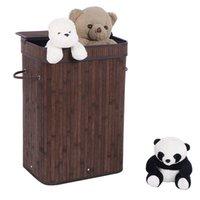 Прачечная Waco с крышкой, бамбуковая белья-корзина для корзины для корзины для корзины для корзины для хранения б / у грязная одежда для спальни для спальни прачечная, темно-коричневый