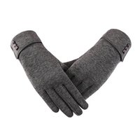 Five Fingers Gloves Women Winter Keep Warm Touch Screen Plus Velvet Inside Thicken Fashion Solid Simple Style Elasticity Windproof Cycling