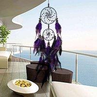 Artesanato De Penas Roxo Sonho Catceiro Chapas de vento Handmade Dreamcatcher rede com contas para parede pendurado carro decor