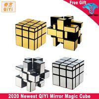 جديد Qiyi مرآة مكعب 3x3x3 سحرية السرعة مكعب الفضة الذهب ملصقات المهنية لغز مكعبات لعب للأطفال مرآة كتل