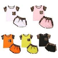 6 cores crianças meninos meninas manga curta roupas conjunto de leopardo patchwork camiseta tops e cordão shorts sportswear sportswear roupa de verão suor terno g42ql51