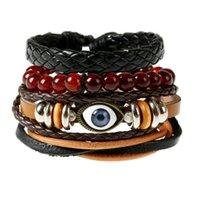 Charm Bracelets Evil Eye Leather Set Black Braided Wrist Band For Men 2021 Retro Wrap Bracelet Jewelry High Quality Gift
