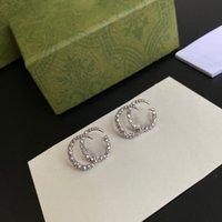 Lüks Tasarımcı Kadınlar Saplama Kadın Takı Çift G Küpe Gümüş Renk