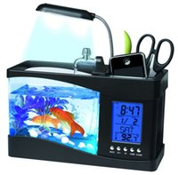 1,5 л мини рыбный танк успокоительный USB аквариум со светодиодной лампой светлый ЖК-дисплей экран Screencklock peceras y acuarios 2