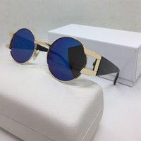 Óculos de sol redondos para mulheres homens óculos de sol 57mm unisex designer búfalo chifre luxo sol óculos moda marca de homem mulher simples vidro com caixa caixa