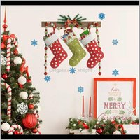 Festive Party Supplies Home & Garden Drop Delivery 2021 Stickers Christmas Hang Socks Wall Decals Xmas Decor Pvc Decorations 9Cjou