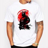 T-shirt do guerreiro do samurai do homem dos homens curtos T-shirt engraçado de Harajuku Camisetas Tops frescos do pescoço do Hipster