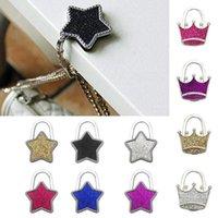 Creative Portable Bag Hook Shiny Folding Zinc Alloy Rhinestone Crown Star Table Edge Handbag Hanger Holder For Home Hooks & Rails