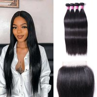 Straight Hair 4 Bundles With Closure 4x4 Unprocessed Natural 1B Color Remy Human Hair Straight Extensions Wholesale