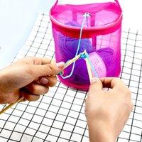 Venda Malha de arame portátil tecelagem sacos redondas Saco de armazenamento de lãs Fios de crochet organizador de malhas de confecção de malhas de confecção de cestas de costura de costura ferramentas